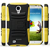i-Blason Prime Series Dual Layer Holster Case Kick Stand Compatible with Samsung Galaxy S4 SIV S IV i9500 with Locking Belt Swivel Clip Manufactured by i-Blason (Yellow)