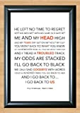 Amy Winehouse 'Back to Black' Lyrical Song Poster Art A4 Size (Typography)
