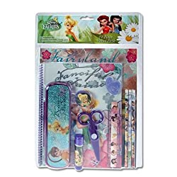 Disney Fairies Tinkerbell 11 Piece Value Pack - Incl Portfolio, Spiral Notebook W/50 Sheets No Lines), Sharpener, Erasr, Pencils Ruller, Scissors, Glue Stick & Pencil Box
