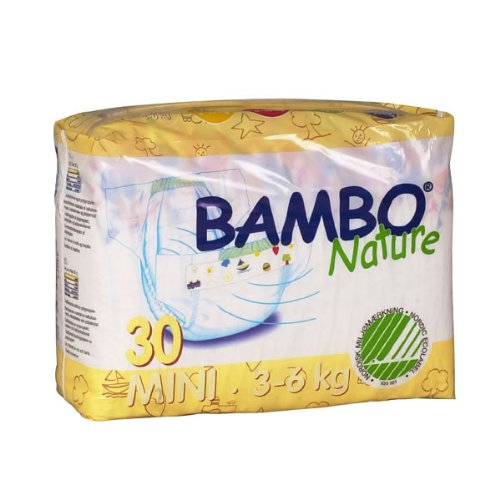 Abena Bambo Nature Premium Baby Diapers, Size 2, Mini, 30 Count (Pack of 6)