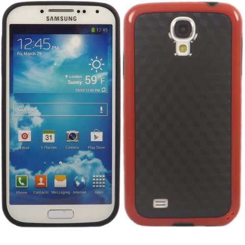 Cube Carbon Gel Fall Decken Haut Für Samsung Galaxy S4 i9500 / Black Cube Carbon Red Bumper
