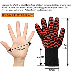 BBQ Gloves,Grill/Cooking Gloves,PATEA 100% Cotton Lining,Heat Resistant Gloves Withstand Heat Up To 932℉ for Oven Gloves/Oven Mitts and BBQ Mitts,Chef Supplies Accessories,Perfect for Baking,Barbecue,Kitchen accessories(1 Pair )