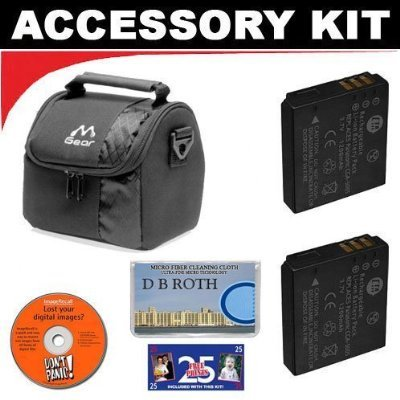 Deluxe DB ROTH Accessory Kit With Digital Camera Case + Two(2) Spare CGA-S008 Batteries For The Pentax Optio P80, WS80 Digital Cameras