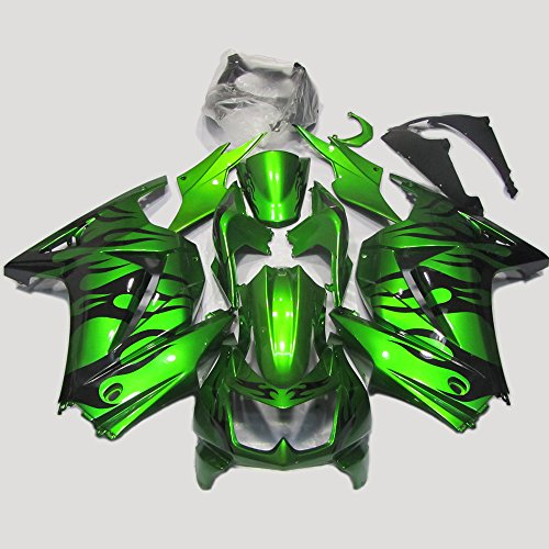 ABS Injection Molding - Deep Green & Black Fairing Kit for Kawasaki Ninja 250 EX250R 2009 - 2012 (Ninja 250 Side Fairings compare prices)