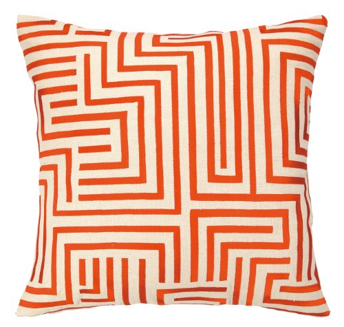 Trina Turk Residential Linen Embroidered Pillow, Mira Mesa, Persimmon front-679971