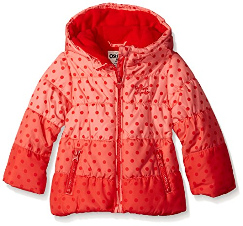 Osh Kosh Little Girls' Puffer With Ombre Dots, Red, 6X