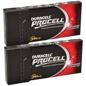 20 x Duracell Procell AAA Alkaline Batteries 1.5v MN2400 LR037