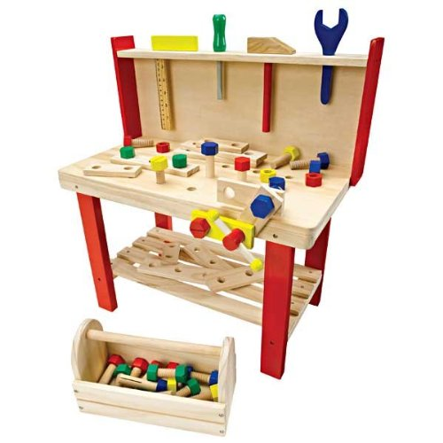 Build Dramatic Play And Fine Motor Skills With A Wooden Workbench Modern Parents Messy Kids