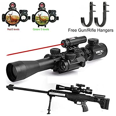 Vokul Tactical 3-9x40mm Illuminated Rifle Scope with Red Laser and Red Dot Sight of Red / Green Reticle Mount by Vokul