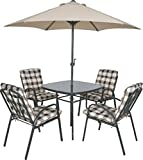 4 Seater Outdoor Garden Furniture Set Table Chairs & Parasol Cushioned Dining