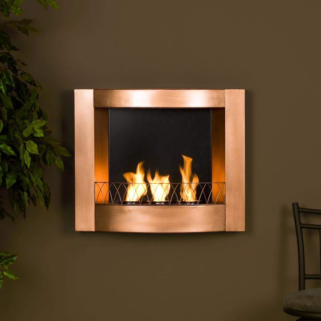 Sei copper wall mountable gel fuel fireplace southern enterprises fireplace - Fire place walls ...
