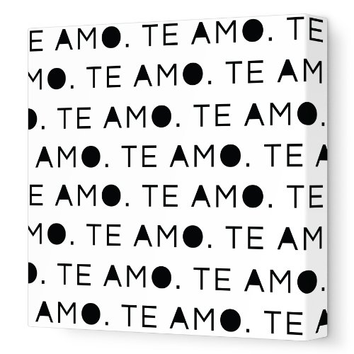 "Avalisa Stretched Canvas Nursery Wall Art, Te Amo, Black, 18"" x 18"""