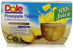 Dole Fruit Bowls, Pineapple (4 Count, 4 Oz Each)