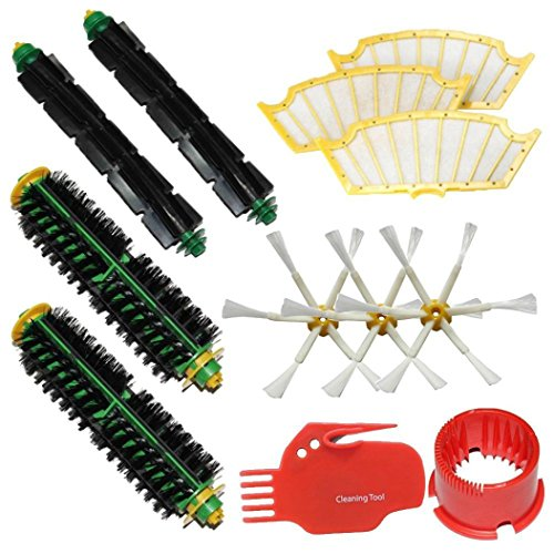 Keepfit Vacuum Cleaner parts Include Brush Cleaning Tools,2 Bristle Brushes,2 Flexible Beater Brushes,3 Side Brushes,3 Filters for iRobot Roomba 500 Series Roomba 510,530,535,540,560,570,580,610 (Roomba Beater compare prices)