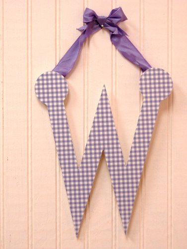 "My Baby Sam 9"" Lavender Gingham Hanging Letter, W"