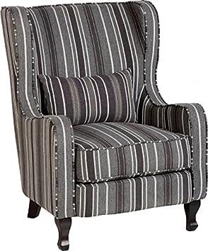 Seconique Sherborne Fireside Chair, Fabric, Grey Stripe