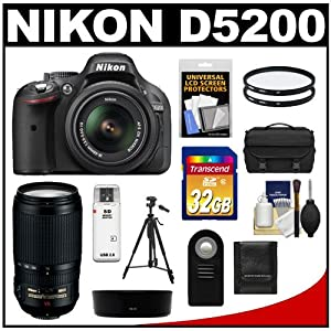 Nikon D5200 Digital SLR Camera & 18-55mm G VR DX AF-S Zoom Lens (Black) with 70-300mm VR Lens + 32GB Card + Battery + Case + Filters + Tripod + Accessory Kit