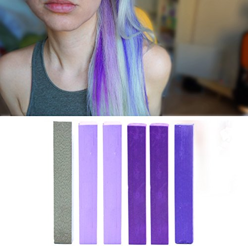 Dye your hair Purple Ombre | Hair Dye Set | LAVENDER OMBRE Vibrant Hair Chalk | With Shades of Silver, 2x Lilac, 2x Purple & Indigo A Pack of 6 Vibrant Hair Dye | Color your Hair Lilac Violet Ombre in seconds with temporary HairChalk