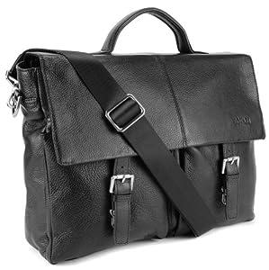 BOVARI Messenger en cuir Sac bandoulière 39x30x10 cm Model Lyon - noir -