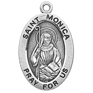 "Sterling Silver Oval Medal Necklace Patron Saint St. Monica with 18"" Chain in Gift Box, Patron Saint of (Patronage of) abuse victims, alcoholics, alcoholism, difficult marriages, disappointing children, homemakers, housewives, married women, mothers, victims of adultery, victims of unfaithfulness, victims of verbal abuse, widows, wives"