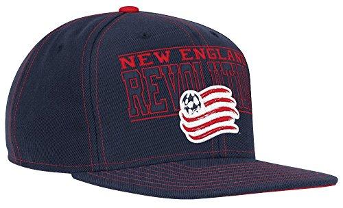 New England Revolution Adidas MLS Authentic Flat Brim Team Snap Back Hat Cappello