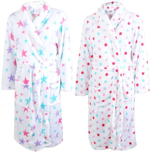 Coloured Print Super Soft White Fleece Wrap Round With Tie Belt Dressing Gown