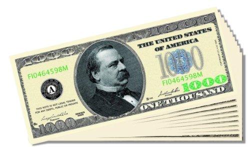 Poker Night Novelty $1,000 Bill - 10 Count with Bonus Christopher Columbus Bill - 1