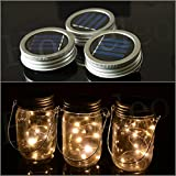 Homeleo 3 Pack Solar Mason Jar Lid Insert, Warm White LED Fairy Mason Jar Lantern for Patio Garden Porch Decoration