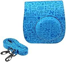 TowallmarkTMEmboss Cute PU Leather Camera Case Bag For FUJIFILM Instax Mini 8 Mini 8s Blue