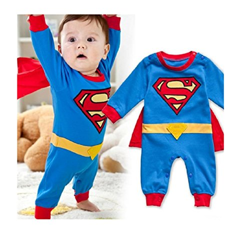 Baby Boy Romper Superman Long Sleeve with Smock Halloween Christmas Costume Gift Boys Rompers Spring Autumn Clothing (7-12 (Superman Costume For Sale)