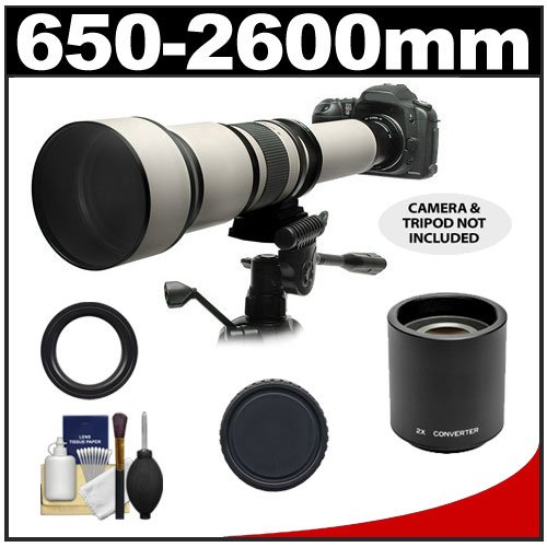 Rokinon 650-1300Mm F/8-16 Telephoto Zoom Lens With 2X Teleconverter (=650-2600Mm) For Canon Eos 60D, 7D, 5D Mark Ii Iii, Rebel T3, T3I, T4I Digital Slr Cameras