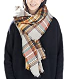 Zando Plaid Blanket Thick Winter Scarf Tartan Chunky Wrap Oversized Shawl Cape A Yellow