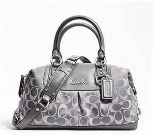 Coach Signature 3 Color Large Satchel Grey and Pink Satchel Convertible Large Bag by Coach