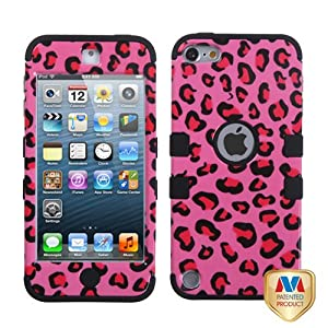 TUFF Dual Layer Hybrid Pink Leopard Skin Media Player Protector Case for Apple iPod Touch 5