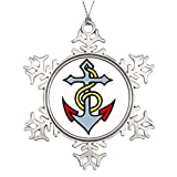 riveral Personalised Christmas Tree Decoration Sailor Tattoo - Anchor - Merry Christmas From Heaven Snowflake Ornament