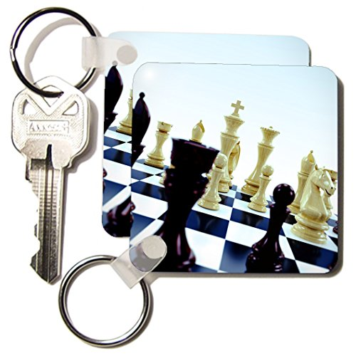 Carsten Reisinger Illustrations - Chessboard with various chess pieces concept - Key Chains - set of 2 Key Chains (kc_155003_1)