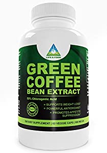 Pure Green Coffee Bean Extract 800 Mg | Most Recognized Clinically Proven Dietary Supplement using High Quality Natural Pure Vegetable Capsules Standardized to 50% Chlorogenic Acid | No Fillers or Binders