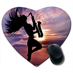 Awwsme Girl Dancing With Musical Instrument Heart Mousepad