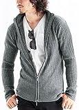 ハイネックリブスタンドカラーニットジャケット ニット セーター ジャージ メンズ Lサイズ グレー