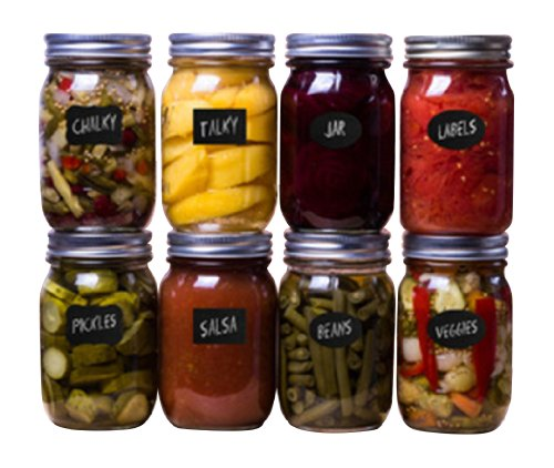 Reusable Chalkboard Labels Perfect for Canning Jars - Chalky Talky Brand - 36 Variety Pack In Oval, Rectangle, Fancy Styles - Medium Size Use for Ball, Kerr, Weck, Mason Jars - FREE Starter Chalk Stick Included - Lifetime Guarantee See Details