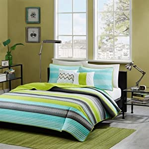Intelligent Design Tess Coverlet Set - Teal - Full/Queen