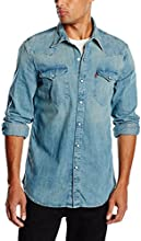 Levi's Barstow Western - Chemise Casual - Coupe droite - Manches longues - Homme - Bleu (Copper Tint Dark) - Large (Taille fabricant: Large)