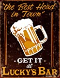 Lucky's Bar Best Head in Town Beer Mug Distressed Retro Vintage Tin Sign - 32x41 cm