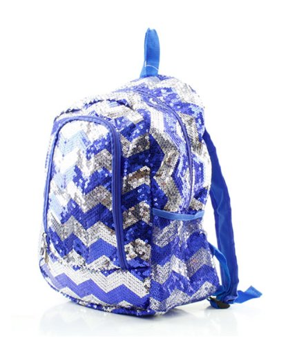 Chevron Sequins Backpack Royal/silver