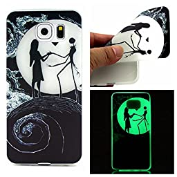 SAMSUNG Galaxy S6 Case,Yayan [Night Luminous Glow] Luxury Premium TPU Rubber Silicone Gel Slim Flexible Durable Soft Protective Case Cover for SAMSUNG GALAXY S6-Moon Lover