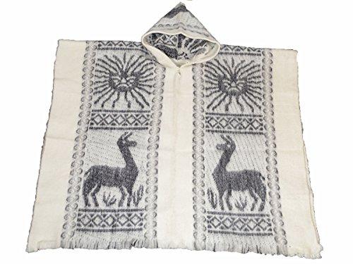 amerique-du-sud-fait-main-100-laine-poncho-inca-soleil-blanc