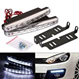 #5: AutoSun White 8 LED Daytime Super Running Lights Pair (2 Strips)