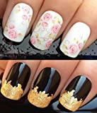 WATER DECALS NAIL TRANSFERS STICKERS! #97 PLUS GOLD LEAF SHEET FOR CUSTOM DESIGNED NAIL! ANIMAL PRINT FLOWERS BOWS LACE FRENCH TIPS WRAP & 24KT GOLD LEAF! CAN BE USED WITH NATURAL GEL ACRYLIC STICK ON NAILS! USE WITH GLITTER DUST CAVIAR BEADS ALLOYS DECO