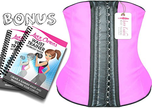 luxx-curves-waist-trainer-corset-for-weight-loss-latex-shaper-postpartum-women-size-s-pink