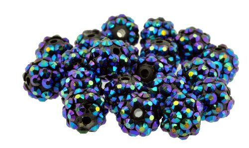 20 Pieces, 12mm Blue Rhinestone Bead, Rhinestone